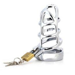 Wholesale Lockable Chastity - 45MM Lockable Penis Cage Stainless Steel Chastity Belt Penis Cock Ring Sleeve Male Chastity Device Cage for Men +B