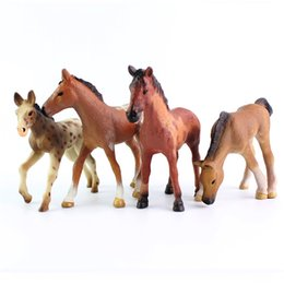 4 estilo cavalo sólida pvc figura brinquedos mini-imitação de animais brinquedos modelo 4.5-12cm para presentes do dia das hildren de