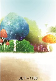 Fotografia di funghi online-tree mushroom paintings 5X7ft fotocamera fotografica vinile tessuto photography sfondi matrimonio bambini bambino sfondo per studio fotografico