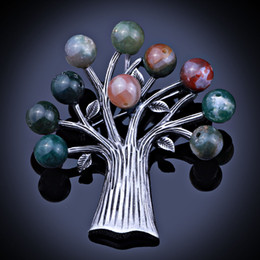 Wholesale Dress Jewelry Tree - Wholesale- Vintage Fashion Tree Shape Nature stone beads Jewelry Metal Brooches & Pins For Women Dress and Scarf Accessories
