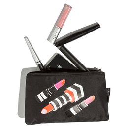 Wholesale Cozy Bags - Wholesale- AE011 Cozy Casual solid lipstick prints cotton Canvas Women lady girl Cosmetic MakeUp Organizer Storage Bag 0.15