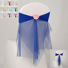 Wholesale Chair Tie Back Wholesale - Bowknot Designed Chair Ribbon No-tie Bow Sash Wedding Hotel Banquet Chair Cover Chair Back Decoration 10 Colors