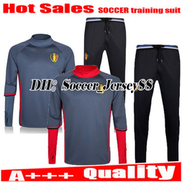 Wholesale White Pant Shirt Man - 2017 trainingsuit kits Soccer jersey tracksuit long sleeve pants jacket LUKAKU FELLAINI E.HAZARD KOMPANY Belgium football shirt jersey