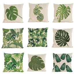 Wholesale Cushion Novelty - Novelty Tropical Plant Pattern Linen Pillowcase Sofa Home Decor Cushion Cover Throw Pillow Case Without Insert(18*18inch)