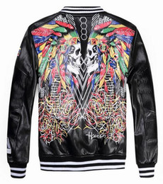 Wholesale Leopard Fur Button Jacket - 2016 New Fashion Leather Cardigan Leather Jacket Men's Locomotive High-End Embroidery Kitty Men's Leather Jacket