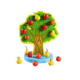 Wholesale Tree Apple Wooden Magnetic - Wholesale- 1 set Montessori Education Kids Wooden Toys Early Learning funny gadgets Magnetic Toys Apple Tree Math Toy Birthday Gift