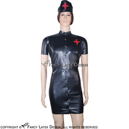 Wholesale White Nurses Uniform Dress - Black Sexy Fetish Latex Nurse Uniform Sets Rubber Dress With Headgear Apron Buttons At Back