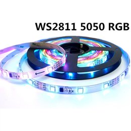 Wholesale Addressable Led Strips - 5m roll DC12V ws2811 ic 5050 rgb strip addressable 30LEDs m 60LEDs m led pixels strip external ic, 1 ic control 3 led
