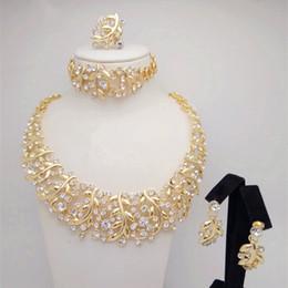Wholesale Jade Bead Earrings - Kingdom Ma Gold Color Nigerian Wedding African Beads Jewelry Set Crystal Saudi Jewelry Sets Necklace Bracelet Earring Ring Set
