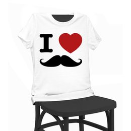 Wholesale Moustache S - Moustache Print Beauty T-shirt Funny T Shirts Short Sleeve Tee Shirt Tops Clothes Women's Summer T-Shirt For Women Lady Girl