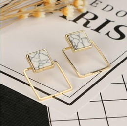 Wholesale Animal Marbles - Pair Stud Earrings Fake Marble Gold Plated Round Triangle  Round Geometric Ear Studs