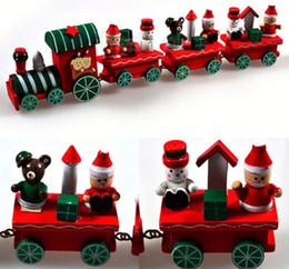 Wholesale Black Santa Ornaments - Vintage Wood Train Christmas Ornaments Santa Claus Dolls Decoration Mini 4 Trains birthday party wedding decor favor gift filler bag red