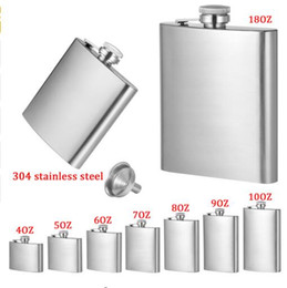Wholesale Mini Hip Flasks - 4oz 5oz 6oz 7oz 8oz 10oz 18oz Jug Stainless Steel Hip Flask Portable Outdoor Flagon Whisky Stoup Wine Pot Alcohol Bottles