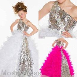 Wholesale Dress Sequin Fushia - 2017 Modest Girls Pageant Dresses One Shoulder Fushia White Sequined Ball Gown Ruffles Silver Fuchsia Flower Girls Dresses Formal Wear Gown