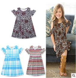 Wholesale Leopard Print Baby Girl Dresses - Ins Clothes Baby Girl Dress 2017 Girls Summer Dresses Leopard Striped Plaid Princess Dresses for Kids Dress Baby Clothes Kids Clothing
