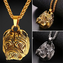 Wholesale Halloween Bulldog - U7 New Fashion Retro Punk Pug Jewelry Cartoon Chic Bulldog Pendant Necklaces Gold Plated Stainless Steel Chain for Women Men Gifts GP2398