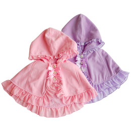 Wholesale Baby Ruffle Jacket - Girls Hooded Cloak Capes Poncho Ruffles Jackets Candy Pink And Purple Color Cute Fashion Baby Children Fall Outerwear Loose Desi