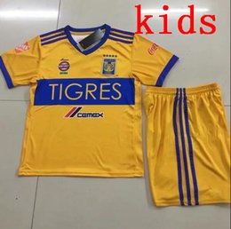 Wholesale Star Boy Shirt - kids NEW Tigres UANL soccer jerseys thai quality 17 18 Mexico club Maillot De Foot Home yellow away 5 star GIGNAC football shirts suit