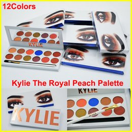 Wholesale Wholesale Powder Palette - 2017 Kylie Eyeshadow The Royal Peach Palette 12 color Kylie Jenners 12color Eyeshadow palette with brush pen Cosmetics Eye shadow Powder