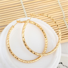 Wholesale Big Yellow Earrings - Fashion Big Circle Earing for Women 18K Yellow Gold Platinum Plated Hoop Huggie Earrings for Women for Party Wedding Jewelry ER-923