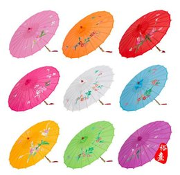 Wholesale Peach Paper - Children Red Umbrella big girls Peach Blossom Sun Parasols Bamboo Paper Craft Umbrella Traditional Dance Color Parasol Wedding Props A00054