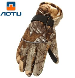 Wholesale Bike Ice - AOTU Men Camouflage Hunting Gloves Keep Warm Bike Full Finger Sport Glove Waterproof For Hiking Cycling Ice Fishing 053