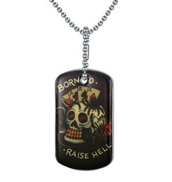 Wholesale Personalized Dog Jewelry - Europe and America Personalized Jewelry Stainless Steel Black Dog Tag Pendant Necklace With Skull