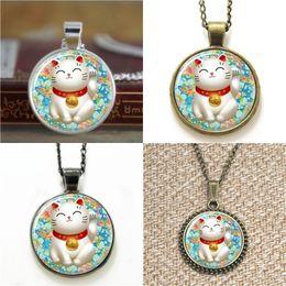 Wholesale Good Luck Wholesale - 10pcs Lucky and Blue Chiyogami Maneki Neko Good Luck Art Necklace keyring bookmark cufflink earring bracelet