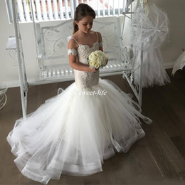 Wholesale Dress Flower Strap Girls - Spaghetti Straps Flower Girl Dresses with Mermaid Train Tulle Lace Appliqued Cap Sleeves Little Girl's Wedding Party Dress Communion Gowns