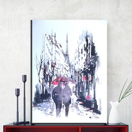 Wholesale Lovers Oils Canvas - ZZ1859 watercolor canvas prints art abstract lover walking in the rain canvas pictures oil art painting for livingroom bedroom