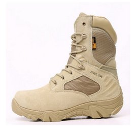 Wholesale Geniune Leather Boots - Hot selling Stylish Tactical Gear Airsoft2016 desert color DELTA tactical geniune leather good quality outdoor Boots Combat Boots Wholesale