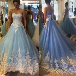 vestidos de quinceanera violeta profundo Desconto Luz céu azul vestido de baile quinceanera vestidos querida rendas applique longos vestidos de baile doce 16 vestidos de trem da varredura com rendas até