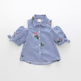 Wholesale Children Blouses - 2017 Summer New Girl Shirts Embroidery Stripe Cotton Short Sleeve Bare Shoulder Shirts Children Clothing 2-7Y 70513