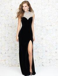 Wholesale Straight Slit Prom Dresses - Black White Velvet Open Back Straight Prom Dresses Long High Neck Bling Beaded Sequin Side Slit Party Dresses Ballkleider Lang Graduation