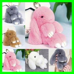 Wholesale Car Bags Handbags - 19 Colors Cute Real Rabbit Furs Keychain Pompom Fur Keychain Bag Charms Car Pendant Lovely Cartoon Handbag Keyrings