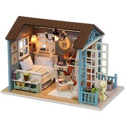 "Wholesale 3d Miniature Puzzle - Wholesale- ""Forest Times"" Doll House Diy Miniature 3D Wooden Puzzle Dollhouse Miniaturas Furniture House Doll For Christmas Gift Toys"