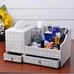 Wholesale Desktop Drawers - Wholesale- Leather tissue box pumping paper box fashion desktop cosmetics remote control storage box storage rack drawer Large