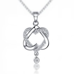 Wholesale Tin Rose Jewelry Box - 30% Platinum Plated Double Heart Crystal Pendant Wedding Necklace Chain Jewelry 2017 Hot Wholesale Factory Price Necklace Gift Box