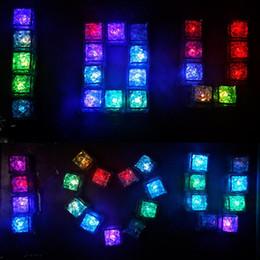 Wholesale Cube Crystal Led - Ice Cube LED Light Flashing Submersible Multi-Color Liquid Sensor Glow Lighting for Drinking Wine Wedding Party Bar Decoration