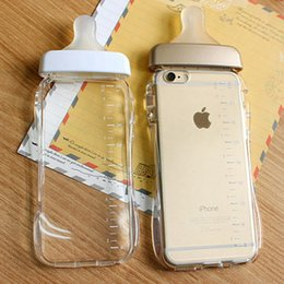 Wholesale Iphone Plastic Cover Baby - Cute Baby Bottle Phone Case Cover for Apple iphone 6 6S 7 Plus with Lanyard Pregnant Woman Milk Bottle Clear Case Protective Shell