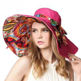 Wholesale Cotton Beach Wear - Women's Foldable Floppy Reversible Sunhat Wide Large Brim Cap Summer Beach Hats Two Sides Can Wear UV Protection