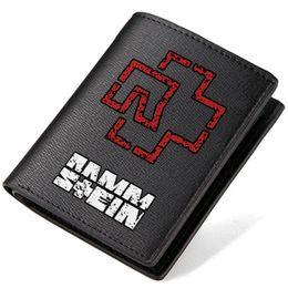 Wholesale Vintage Change Holder - Rammstein wallet Rock band purse Reise short long leather cash note case Money notecase Loose change burse bag Card holders