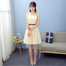 Wholesale Dresses Occasional - size 8 chiffon champagne elegant embellished one shoulder braidsmaid occasional dresses a-line dress for teenagers H3773