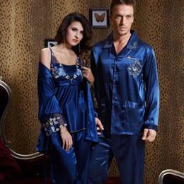 Wholesale Man Pajama Silk - 0422 Gorgeous Silk Blend Men Women Ladies Sleepwear Pajamas Sets Sleep Shirts Long Sleeve Tops Pants Couples Lovers Nightclothes Nighties
