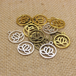Wholesale Antique Pendants Fit Necklace - Wholesale 60pcs lotus flower charms 20mm Antique pendant fit,Vintage Tibetan Silver,DIY for bracelet necklace CP207