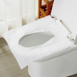 Wholesale Disposable Paper Toilet Seat Covers - Wholesale- 10Packs=100Pcs=1Lot Disposable Toilet Seat Cover Mat 100% Waterproof Travel Portable Toilet Paper Pad (