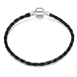 Wholesale Braided Bracelets Fit European - Black Leather Braided Rope Bracelets Fashion DIY Bracelet Chain Fit European Beads With Silver Box Buckle Jewelry Accessories