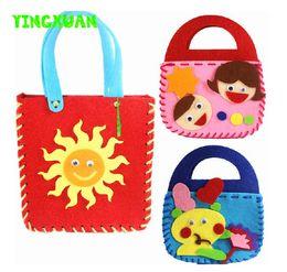 Wholesale Handbag Craft Kids - Wholesale- 5pcs lot Make Handmade Handbags DIY Non-woven Felt Fabric Cloth Kit kids Girl Art & Crafts Toys for Children