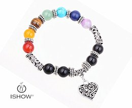 Wholesale Rainbow Crystal Bracelet - 7 Chakra Rainbow Bracelet Love Heart Pendant Boho Female Antique Silver Plated Jewelry Purple Crystal Jade Red Agate HYBX3329