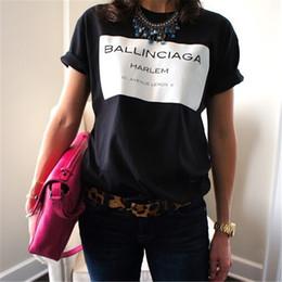 Schwarze frauen sexy t-shirts online-Großhandels- BALLINCIAGA HARLEM Frauen-reizvolles T-Shirt zufällige Baumwolllustige Oberseiten-Sommer-Art-T-Stücke Whtie schwarzer Hipster plus Größe T-F90037